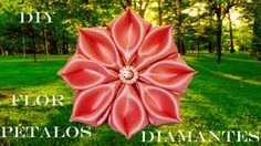 DIY Kanzashi flores pétalos de diamantes rosa en cintas- pink flower pet...