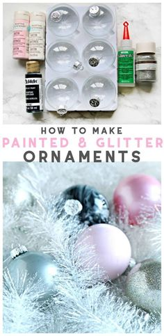 How to Make Glitter & Painted Glass Ornaments | Easy Christmas Holiday Craft Decorating and Craft Ideas. Christmas DIY | Step by step instructions on TodaysCreativeLife.com