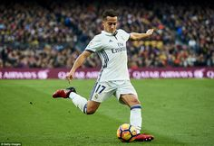Lucas Vazquez puts his foot through the ball during Real Madrid's Saturday afternoon clash with Barcelona