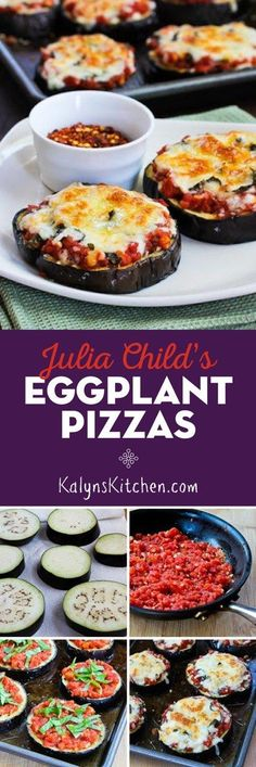 Julia Child's Eggplant Pizza is a recipe that's popular all year round on my blog. These delicious pizzas made on a base of roasted eggplant are delicious and they're low-carb, gluten-free, and meatless. This recipe has a lot of fans, and it's been pinned over 1M times! [found on KalynsKitchen.com] #EggplantRecipe #EggplantPizzaRecipe #EggplantPizza #JuliaChildsEggplantPizza