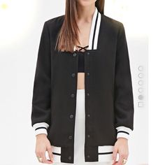 NWT   Forever 21 black&white stripe Jacket/Coat New with tag. Forever 21 Jacket. Size Medium. Preppy Chic! Makes you look young like a student~ Forever 21 Jackets & Coats Utility Jackets