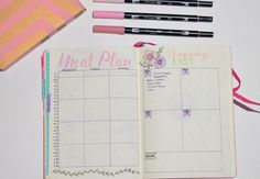 Monthly meal plan and shopping list in bullet journal monthly setup