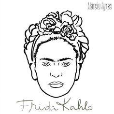 51 Trendy Ideas For Nails Art Frida Kahlo Outline Drawings, Art Drawings, Hand Embroidery Designs, Embroidery Patterns, Frida Kahlo Tattoos, Broderie Simple, Frida Art, School Murals, Sewing Art