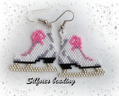 Silfoxes Beading Beaded Earrings Patterns, Seed Bead Earrings, Beading Patterns, Beaded Crafts, Beaded Ornaments, Bead Jewellery, Beaded Jewelry, Beaded Spiders, Beads And Wire
