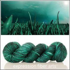 Expression Fiber Arts, Inc. - DEMETER SUPERWASH MERINO SILK PEARLESCENT WORSTED yarn - Greek goddess of the harvest - a deep, blackened, emerald green