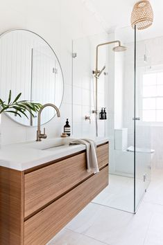 Dreaming of a luxury or designer bathroom? We've gathered together lots of gorgeous bathroom ideas for small or large budgets, including baths, showers, sinks and basins, plus bathroom decor ideas. Modern Bathroom Design, Bathroom Interior Design, Minimal Bathroom, Modern Bathroom Cabinets, Best Bathroom Designs, Light Bathroom, Bathroom Mirrors, Bathroom Design Inspiration, Beautiful Bathrooms