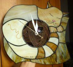 """Витражные часы """"Клубочек"""" - коричневый,часы,часы авторские,часы для дома"""