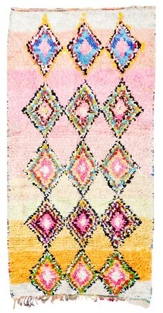 Moroccan boucherouite rag rug, Sorbet Sparkle, on Leif. Could be used in of the girls' rooms.