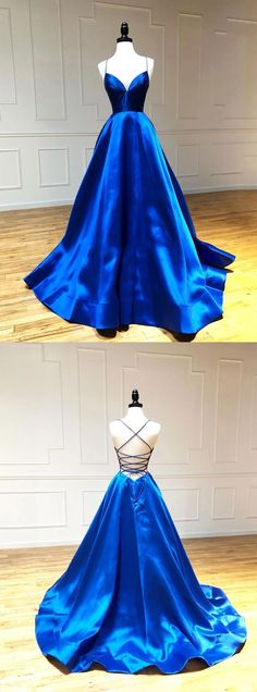 Simple A Line Satin Spaghetti Straps Royal Blue Long V Neck Prom This dress could be custom made, there are no extra cost to do custom size and color Blue Evening Dresses, Cute Prom Dresses, Backless Prom Dresses, Grad Dresses, Blue Dresses, Evening Gowns, Formal Dresses, Royal Blue Evening Gown, Chiffon Dresses