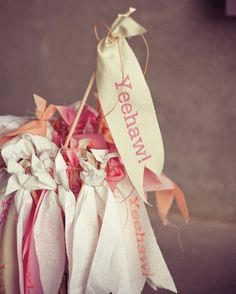 """Guests waved hand-made """"Yeehaw!"""" pennants during Emily and Colby's recessional at their Texas wedding."""