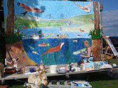 Lydney harbour Festival live mural painting