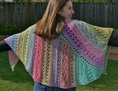 "Loom knit American Paris Shawl, loom knitting pattern  from ""Blooming Loom: Colorful Patterns for Loom Knitters"" e-book"