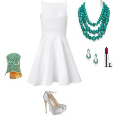Turquoise Jewellery with leather dress by leatherfads on Polyvore