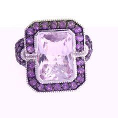 Sima K Sterling 7.04ct Rose de France & Purple Amethyst Ring 8 U681 #SimaK #Cocktail #hsn