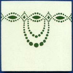 Jugendstil Fliese Kachel, Art Nouveau Tile, Wessel, Perle Girlande Perl Garland