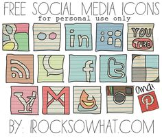 Amazing, hand-drawn-looking, FREE social media icons for your blog via @Jess Craig from IROCKSOWHAT. -Might need these later.  Too cute!