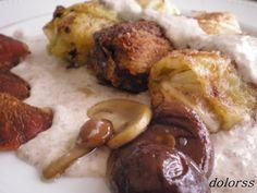 Blog de cuina de la dolorss: Paquetitos o rollitos de col rellenos de jamón con salsa de setas
