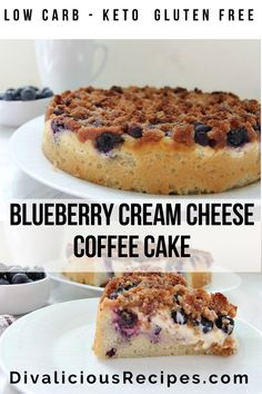 Coconut flour makes this moist blueberry cream cheese coffee cake. Layers of sponge, cream cheese and blueberries are topped with a cinnamon crumble. Gluten Free Recipes, Low Carb Recipes, Cream Cheese Coffee Cake, Cinnamon Crumble, Macro Meals, Diabetic Friendly, Your Recipe, Coconut Flour, Blueberry