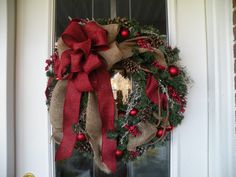 Hey, I found this really awesome Etsy listing at https://www.etsy.com/listing/253903996/christmas-wreath-holiday-wreath-burlap