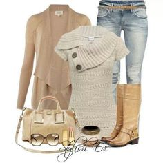 sweater w, leggings idea, none of the other stuff, maybe the purse too