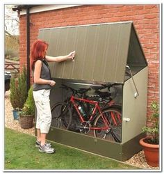 How To Use Storage Shed Plans To Declutter Your Home - Exterior Rubbermaid Bicycle Storage Shed Inspiring Picture… - Outside Bike Storage, Bicycle Storage Shed, Outdoor Bike Storage, Bike Shed, Rubbermaid Storage Shed, Diy Storage Shed Plans, Storage Shed Organization, Wood Shed Plans, Garage Storage