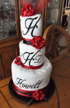 Wedding Shower Monogrammed Towel Cake