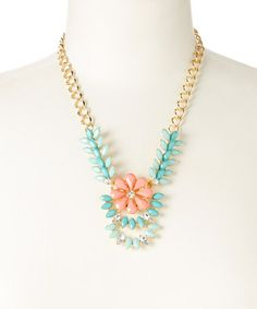 Loving this Turquoise & Orange Floral Marquise Necklace on #zulily! #zulilyfinds