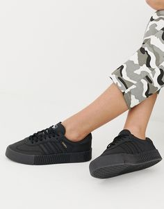 adidas Originals Samba Rose Sneakers In Triple Black be0269b3f52