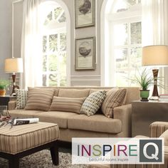 INSPIRE Q Park West Tan Chenille Track Arm Sofa | Overstock.com Shopping - Great Deals on INSPIRE Q Sofas & Loveseats