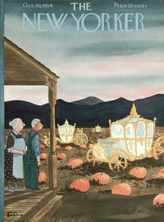 The charming October 30, 1954 cover of The New Yorker magazine. #vintage #fall #Halloween #Cinderella
