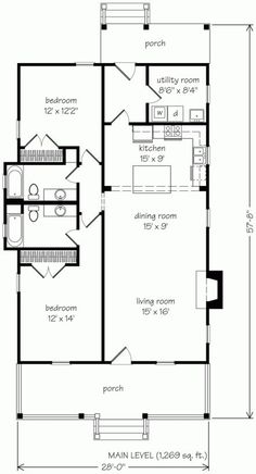 2 Schlafzimmer Shotgun House Pläne Luxus Pine Haven John Tee Architekt – Bedroom plans - Grundrisse Narrow Lot House Plans, Best House Plans, Dream House Plans, Small Floor Plans, Shotgun House Plans, Small Bungalow, Southern Living House Plans, Cottage House Plans, Good House
