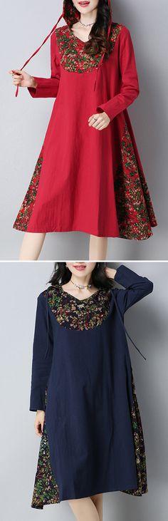 US$ 25.00 O-NEWE Patchwork Printed Hooded Long Sleeves Dresses For Women