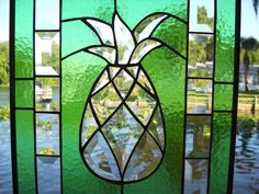 Beveled Pineapple Stained Glass Window Panel for by ArtfulFolk, $99.95