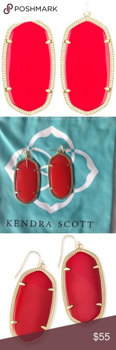 "NEW, NEVER WORN Kendra Scott Danielle earrings NEW, NEVER WORN Kendra Scott Danielle earrings in ""Bright Red."" The pictures really don't do these beauties justice- love love love them but unfortunately they just sit in my jewelry box. Looking for a new loving home for them. ❤️ Kendra Scott Jewelry Earrings"