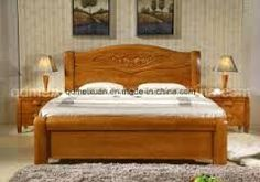 With a wooden bed you support a natural indoor climate and promote a restful, heal. Wood Bed Design, Bed Frame Design, Bedroom Bed Design, Diy Bed Frame, Modern Double Beds, Bedroom Furniture, Furniture Design, Wall Painting Living Room, Double Bed Designs