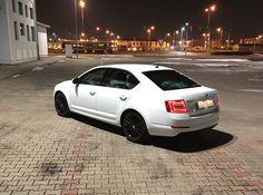 "Skoda Octavia, laser white, Turini 18"" black alloy wheel Black Wheels, Alloy Wheel, Supercars, Transportation, Exotic Sports Cars"