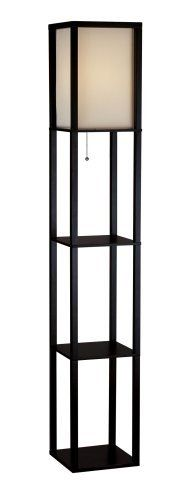 Adesso 3138-01 Wright 150-Watt 63-Inch Tall Floor Lamp with Silk Shade, Black (798919313815) Handsomely crafted floor lamp for overall room illumination Made of black walnut wood; modern open-box frame; 3 flat surfaces for storage/display Collapsible, natural-silk shade measures 8-1/2 inches across by 14-1/2 inches high Pull-chain on/off switch; uses a 150-watt bulb (not included); some assembly required Lamp measures 10-1/4 inches long by 10-1/4 inches wide by 63 inches high