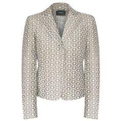 AKRIS embroidered eyelet silk cotton blazer two-button fitted jacket 6-US/38-F #Akris #Blazer