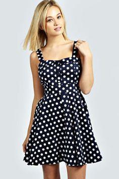Sarah Polka Dot Strappy Skater Dress at boohoo.com