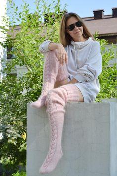 Thigh high socks Sexy stockings EXTRA LONG Slouchy leg warmer Over knee socks Boot socks Gift for her Knitted socks Custom socks Angora, Thigh High Socks, Thigh Highs, Bas Sexy, Cozy Fashion, Fashion Goth, Custom Socks, Wool Socks, No Show Socks