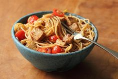 Spaghetti with tofu and tomatoes