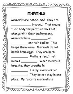 Printables Mammal Worksheets mammals cartoon and book on pinterest mammal information sheet
