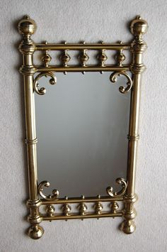 """34"""" x 17.5"""" Vintage Gold Syroco Wall Mirror- (Great in Antique Brass Bed Decor)"""