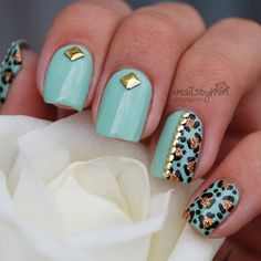 Nail art studs with mint polish and leopard print ===== Check out my Etsy store for some nail art supplies https://www.etsy.com/shop/LaPalomaBoutique