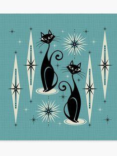 Mid Century Meow Retro Atomic Cats On Blue Duvet Cover by Studioxtine - Twin XL: x Mid Century Wall Art, Mid Century Decor, Mid Century Modern Design, Design Poster, Illustration, Retro Art, Pics Art, Up Girl, Cat Art