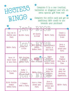 Items similar to Here's a Bingo game for your Hostess to help her have a successful party! on Etsy Thirty One Hostess, Thirty One Party, My Thirty One, Thirty One Gifts, Facebook Party, For Facebook, Mary Kay Inc, Mary Kay Party, Passion Parties