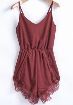 sexy ... and adorable color ...  Red Spaghetti Strap Lace Chiffon Jumpsuit US$22.33