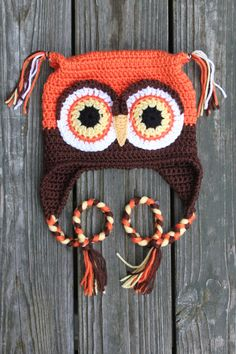 Crocheted Autumn Owl Earflap Hat