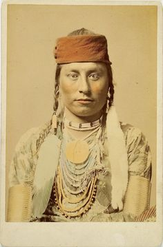 F.J. Haynes Tinted Cabinet Card of a Crow Indian. (Antique photo of Native American)