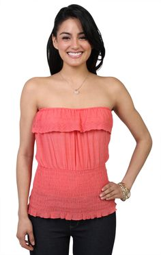 Deb Shops #coral smocked body #ruffle front tube #top